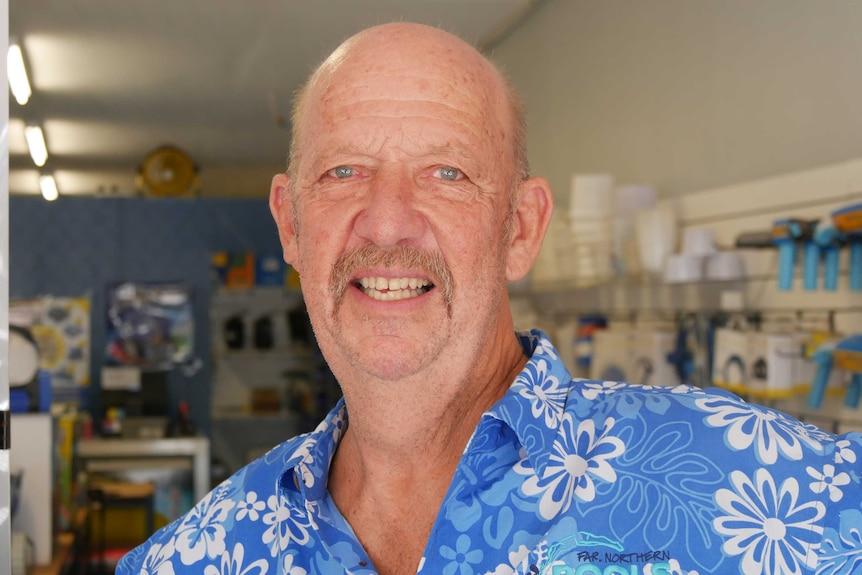 Chris Kuhne in his Mount Isa pool shop