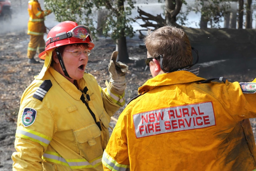 Captain Carole leads her team from the Wongarbon Bushfire Brigade