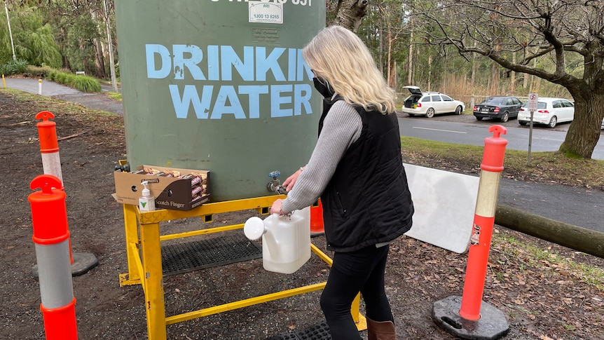 A woman fills a container with water from a large tank outside.