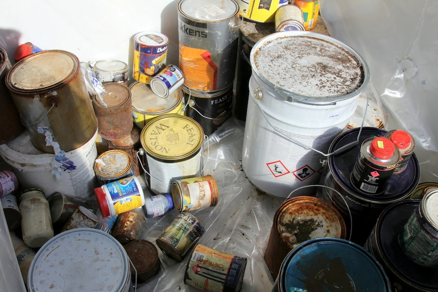 Unwanted paint collected at the Mitchell waste management centre.
