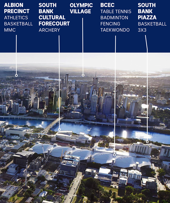 A map shows where venues will be held in Brisbane's CBD and at South Bank