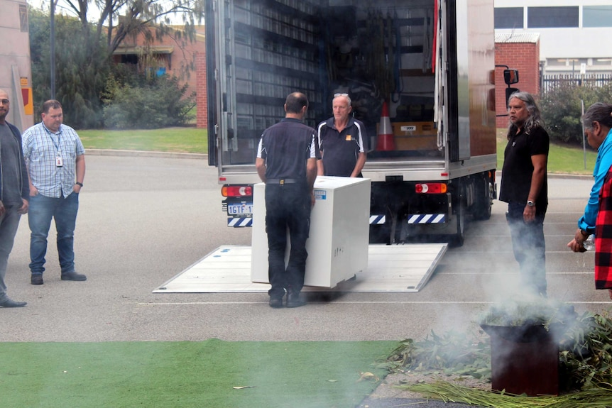 Aboriginal remains being unloaded at the WA Museum