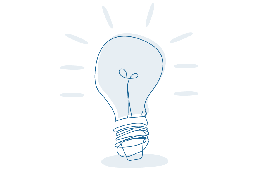 Illustration of lightbulb eminating light.
