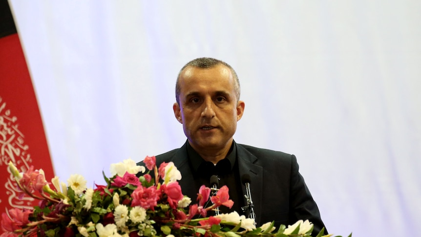 Afghan First Vice President Amrullah Saleh speaks during his election campaign in 2019.