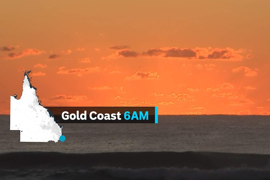 Dawn breaks above the breakers on the Gold Coast