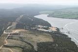 Aerial long shot of the former Gunns' pulp mill site in Tasmania