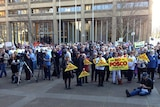 Anti-mining protesters outside the NSW Supreme Court