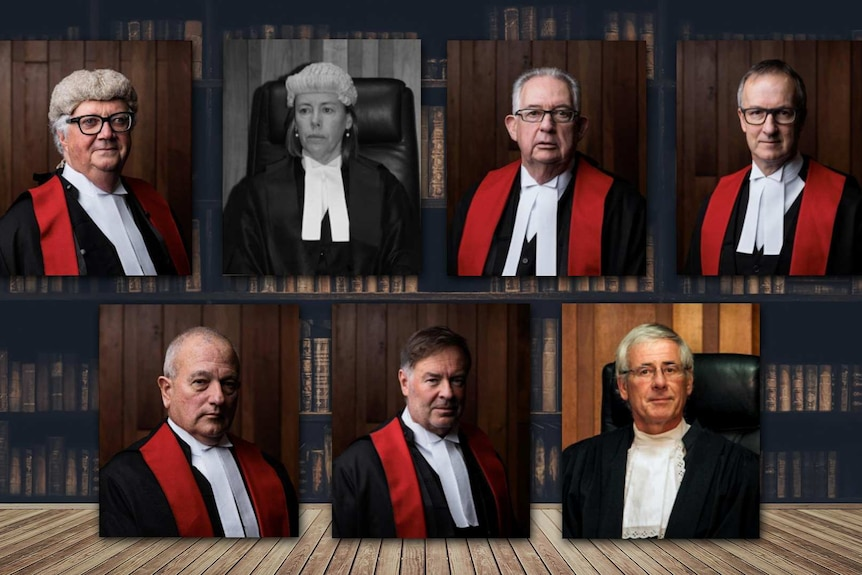 Photographic portraits of seven Tasmanian judges with a background of a library.