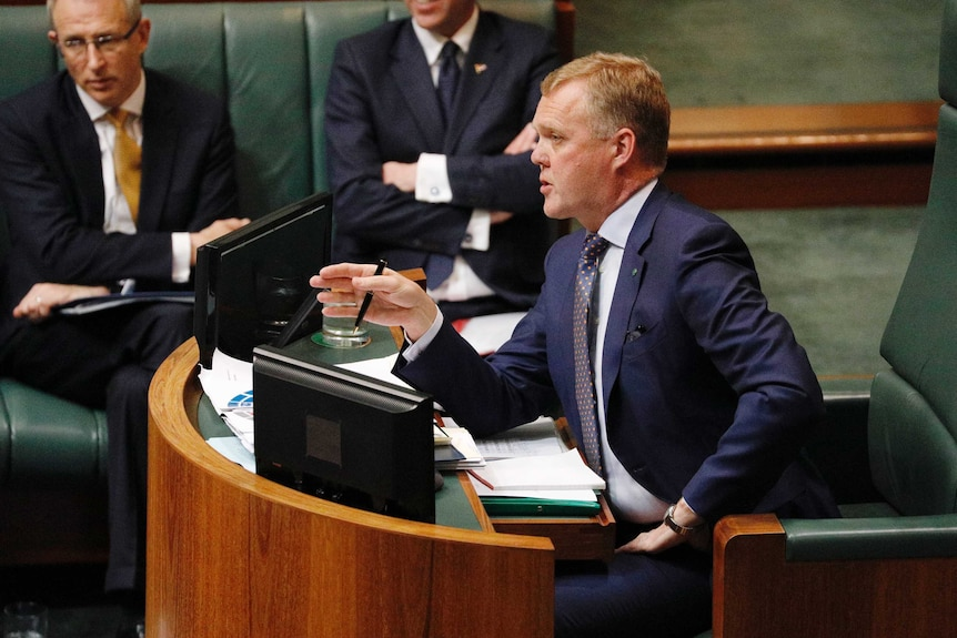 Speaker Tony Smith making a point in the House of Representatives