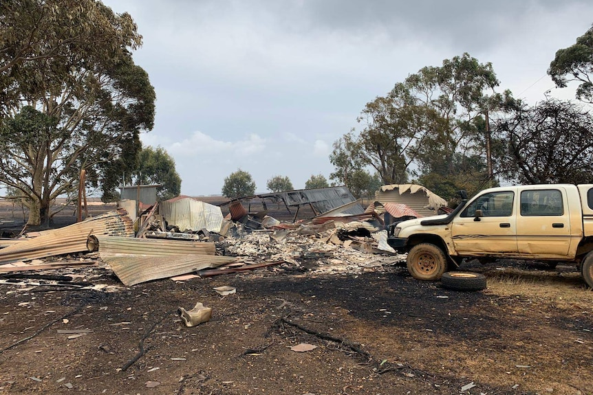 The ruins of a property on Kangaroo Island after a bushfire ripped through.