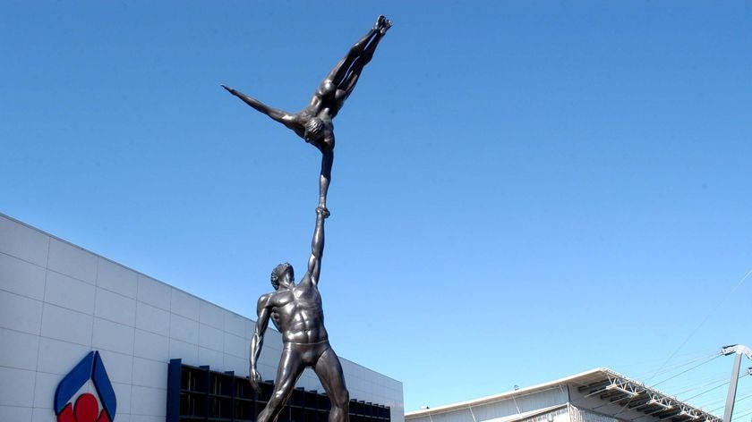 Statues outside the Australian Institute of Sport in Canberra.