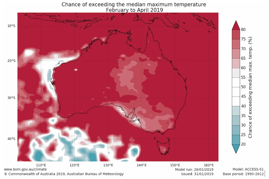 red red red red RED. the whole of Australia bathed in red indicating a (mainly) over 80% chance of above median maximum temps