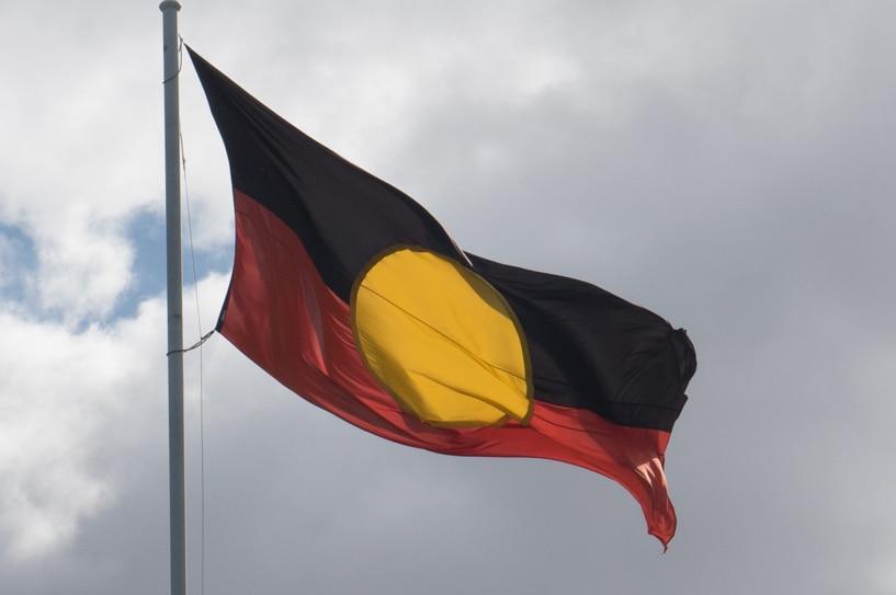 The Aboriginal flag flutters in Victoria Square, Adelaide.