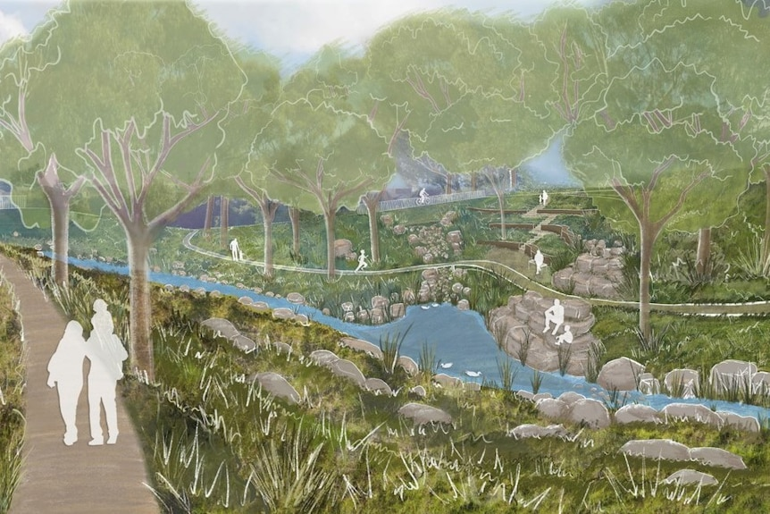 A painting of a creek