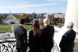 Paul Ryan shows Melania and Donald Trump the view from the Speaker's Balcony.