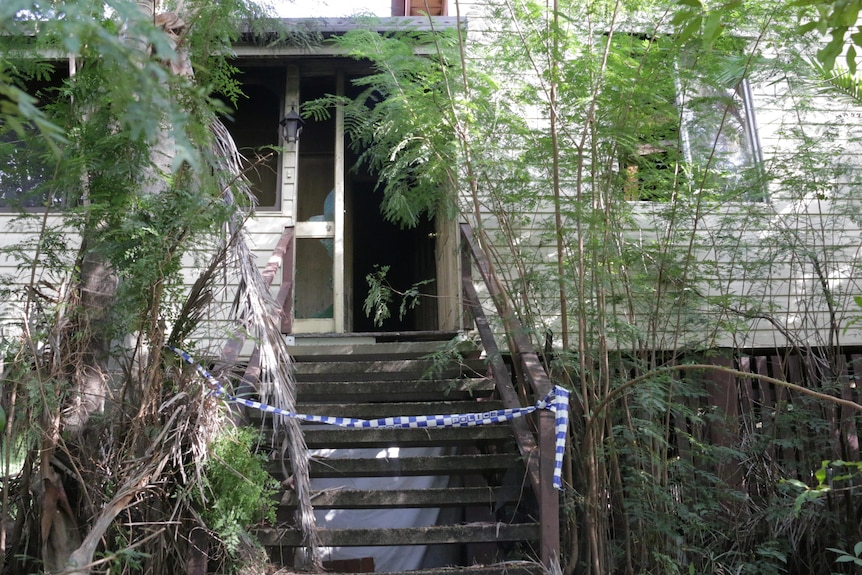 Police tape covers stairs of a high-set, cream wooden home, shrouded in plants.