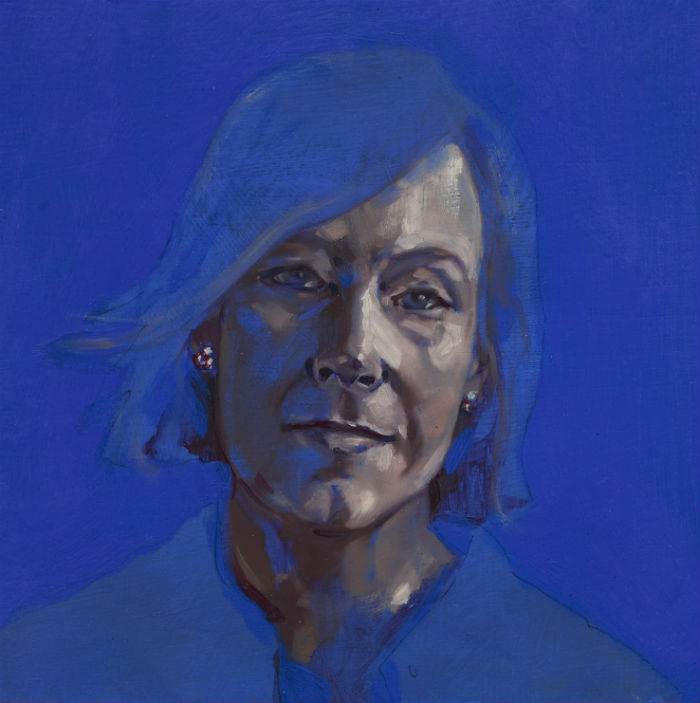 Leigh Sales rendered in shades of grey and electric blue.