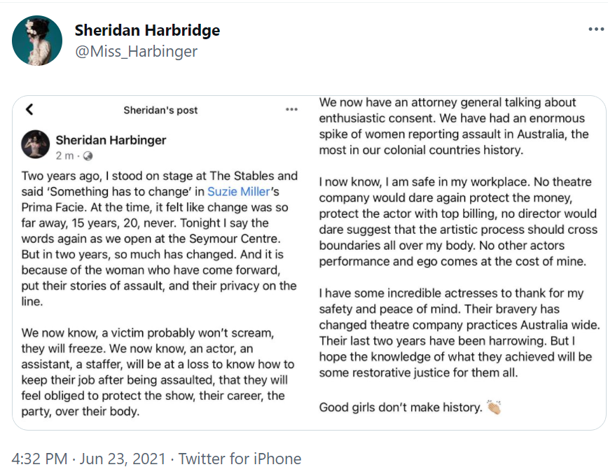 A screenshot of a Twitter post, which is also a screenshot from Facebook, including images of Sheridan Harbridge in costume