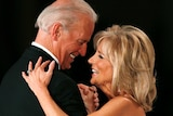 Joe Biden and Jill Biden smiling at each other while they dance