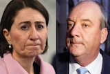 Gladys Berejiklian and Darryl Maguire facing each other in a composite image