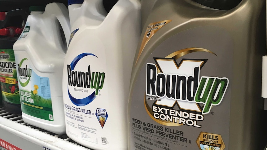 Containers of Roundup on a shelf
