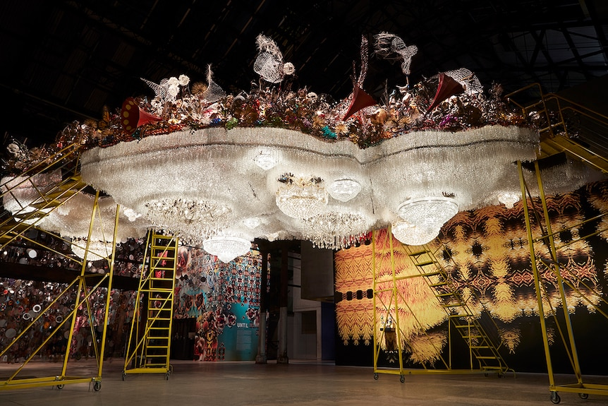 Colour photo of large-scale sculpture Crystal Cloudscape by Nick Cave displayed inside Carriageworks in Sydney.