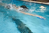 Close-up of lap swimmer with head down in water in pool