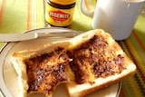 Vegemite toast with a cup of tea.