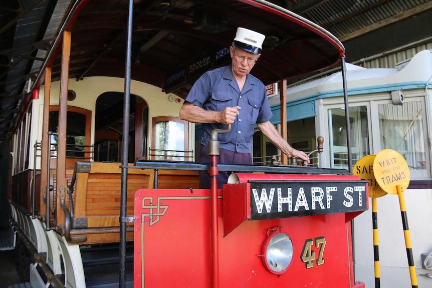 Peter Hyde aboard one of Brisbane's old trams