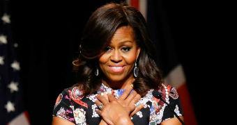 Michelle Obama speaks in London.