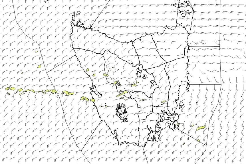 Graph of map of Tasmania with weather markings depicting rain and wind measurements.