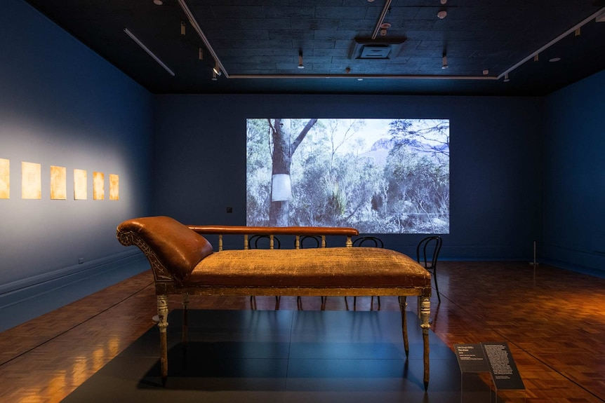 Interior gallery with wooden floor and dusky blue walls with chaise longue in foreground and video screen behind.