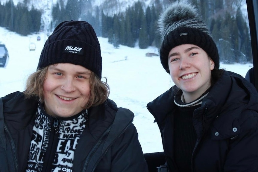 Young Adelaide couple Lukasz Klosowski and Chelsea Ireland in the snow.