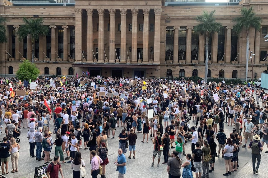 Hundreds of protesters at Brisbane climate rally in King George Square on January 10, 2020.