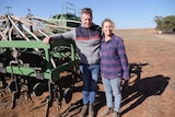 Man and woman stand by a machine that sows seed direct into the soil