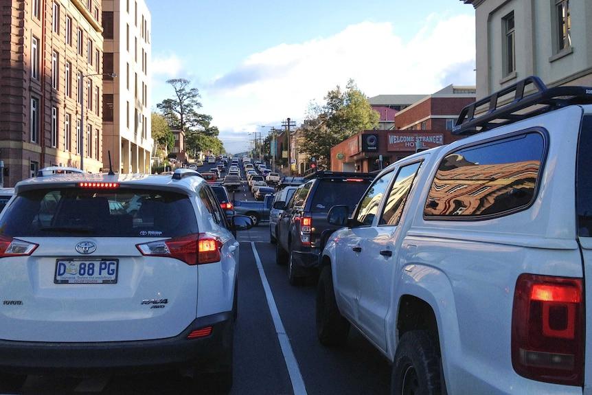 Hobart afternoon traffic on Davey Street