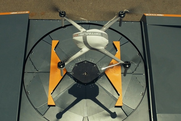 A drone coming out of its box at an alumina refinery in south-west WA