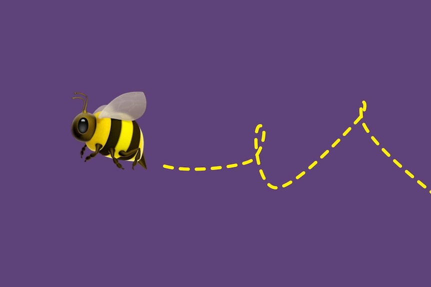 Illustration of a bee flying
