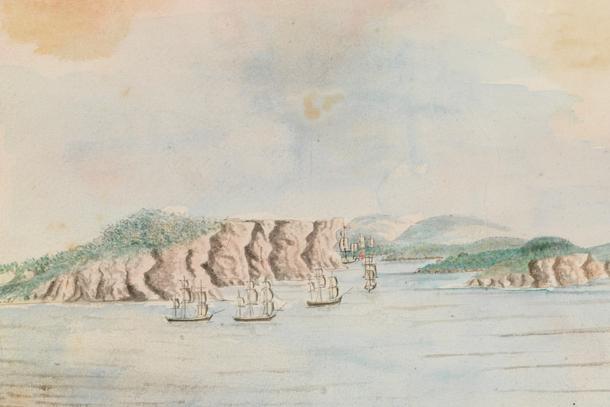 A coloured drawing showing the First Fleet ships sailing into Sydney Cove, or Port Jackson.