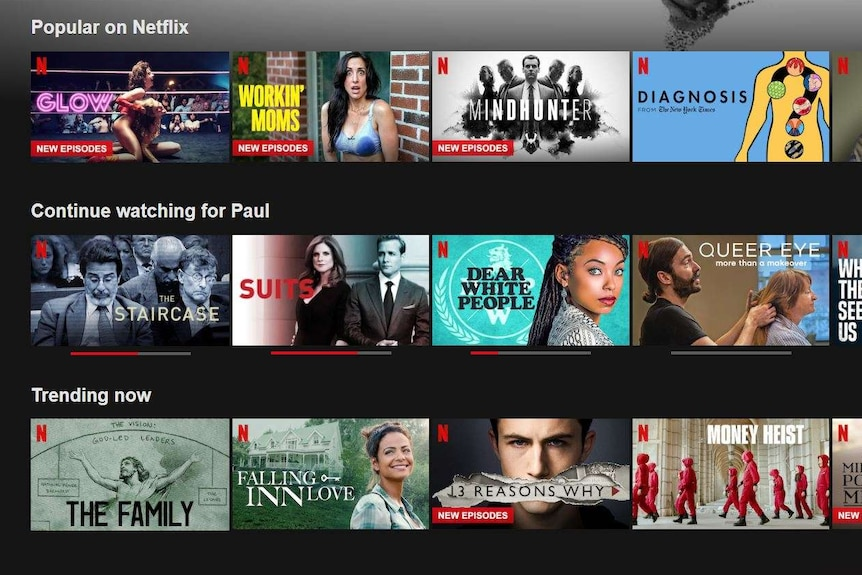 A view of the home screen of Netflix.