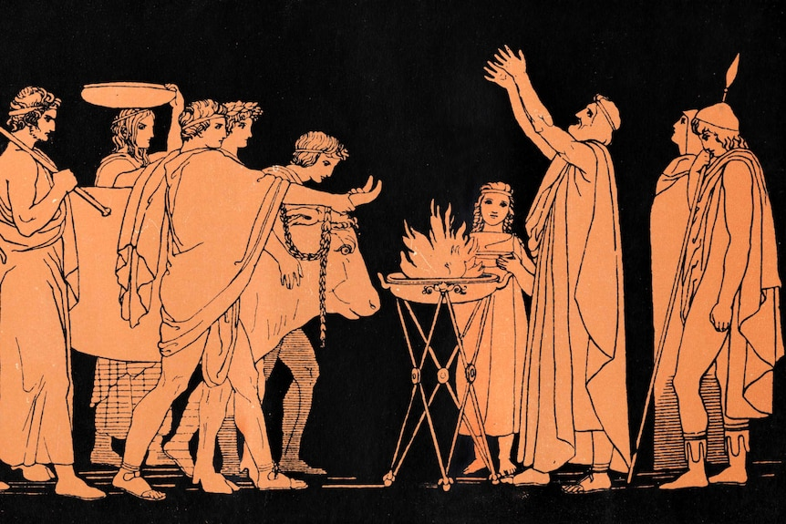 Illustration depicting a scene from Homer's the Odyssey, in black-and-orange.