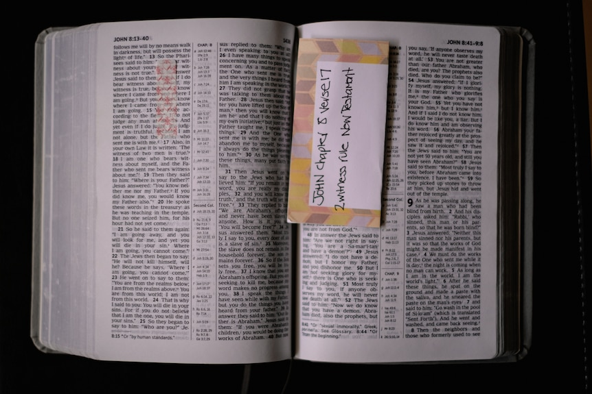 A opened Jehovah's Witness Bible.