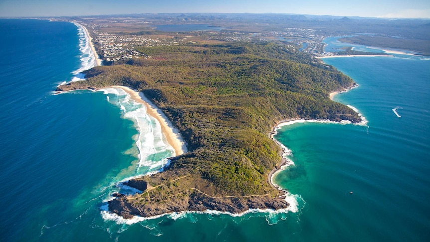 Aerial view over surf and bushland