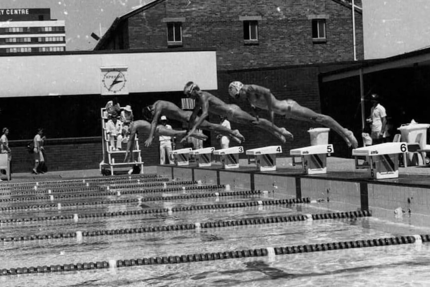 Black and white action shot of swimmers diving