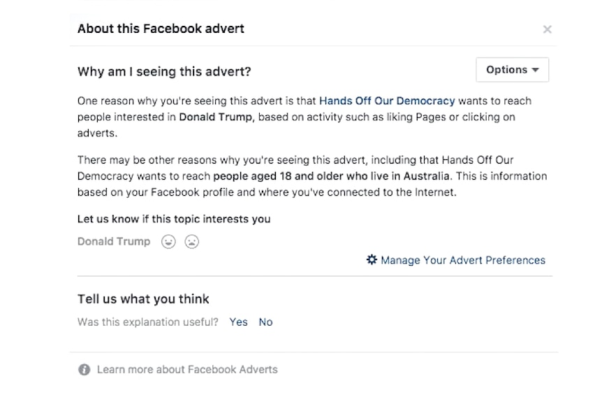 A Facebook message explaining why users are seeing a particular advertisement.
