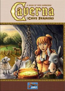 The box for the board game Caverna with an illustration of a woman in a cave with a donkey and big pot of food, sheep in the b/g