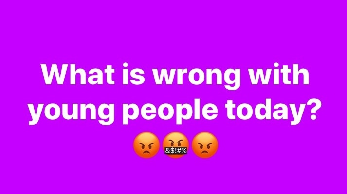Facebook post saying 'what is wrong with young people today?' in article about Karen being used as an insult.