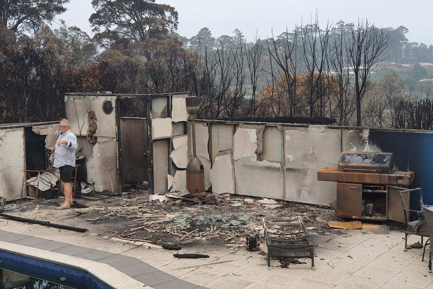 Bushfire destroyed pool area of James Findlay's family home in Surf Beach, Batemans Bay