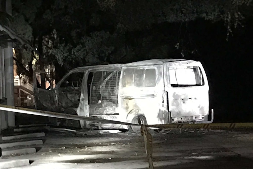 Close up of burnt-out van at the Australian Christian Lobby headquarters in Canberra