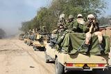 Chadian soldiers patrol Nigerian town of Gamboru